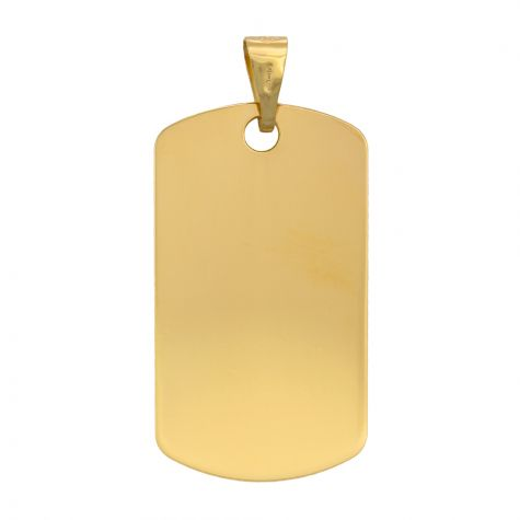 9ct Yellow Gold Solid Polished Dog Tag Pendant - 37mm