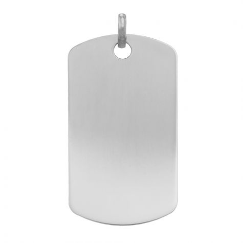 9ct White Gold Solid Polished Dog Tag Pendant - 37mm