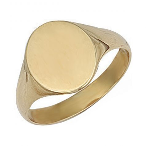9ct Yellow Gold Solid Polished Oval Signet Ring - 13.5mm - Size Y