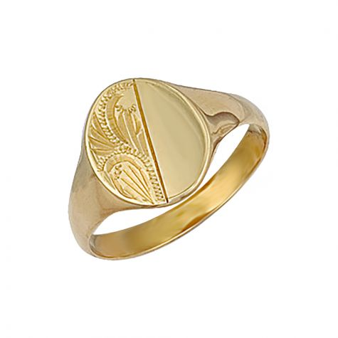 9ct Yellow Gold Solid Hand Engraved Oval Signet Ring - 13mm