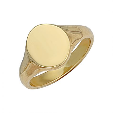 Heavyweight 9ct Gold Solid Polished Oval Signet Ring  - 14.5mm