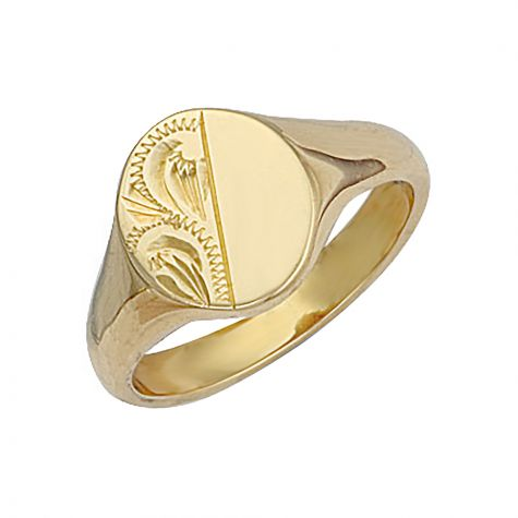 Heavyweight 9ct Gold Solid Hand Engraved Oval Signet Ring - 14mm