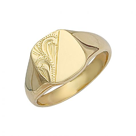 Heavyweight 9ct Gold Solid Engraved Square Signet Ring - 12.5mm