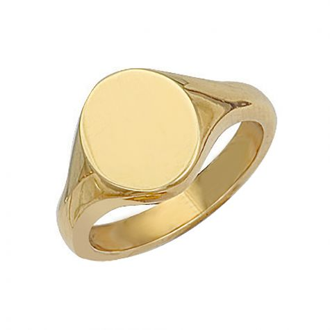 Heavyweight 9ct Gold Solid Polished Oval Signet Ring - 14mm