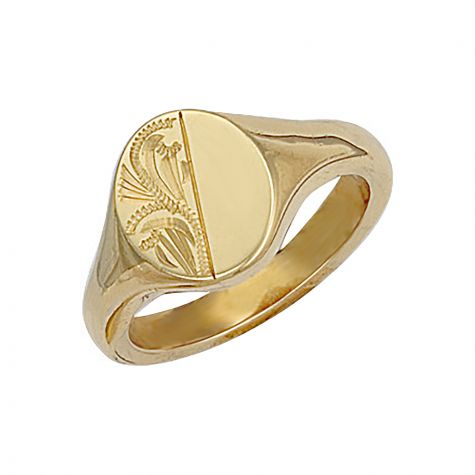 Heavyweight 9ct Gold Solid Engraved Oval Signet Ring  - 14.5mm