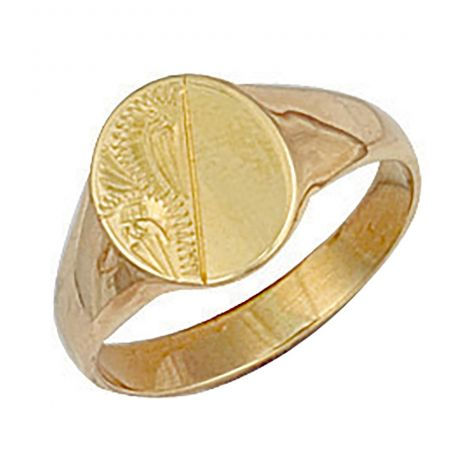 9ct Yellow Gold Solid Hand Engraved Oval Signet Ring - 11mm - Childs - Size M