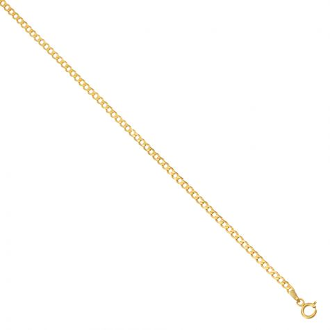 """Solid 9ct Gold Italian Bevelled Edge Curb Chain-2.3mm-16"""" -Ladies"""