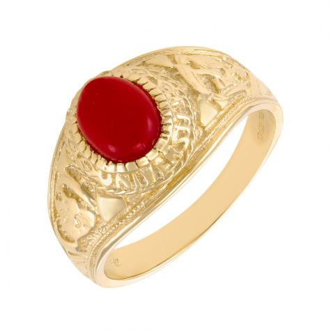 9ct Yellow Gold Red Gemstone Graduation / College Ring - Gents