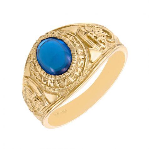 9ct Yellow Gold Blue Gemstone Graduation / College Ring - Gents