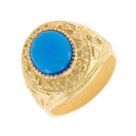 9ct Gold Blue Gem Graduation / College / University Ring - Gents