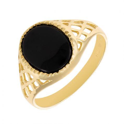 9ct Gold Lattice Design Oval Black Onyx Signet Ring - Unisex