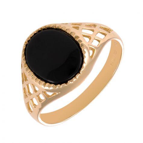 9ct Gold Lattice Design Oval Black Onyx Signet Ring - Unisex - Size O