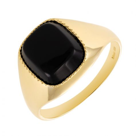 9ct Gold Polished Design Square Black Onyx Signet Ring - Gents