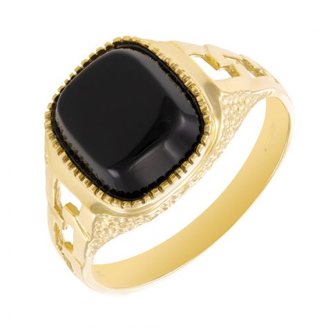 9ct Yellow Gold Chain Link Design Black Onyx Signet Ring - Gents