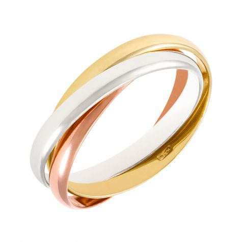 9ct Yellow, White & Rose Gold Russian Wedding Band Ring - 2mm - Size J