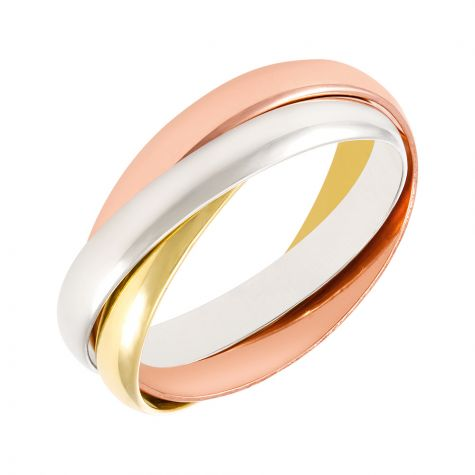9ct Yellow, White & Rose Gold Russian Wedding Band Ring - 3mm