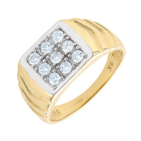 9ct Yellow Gold Square Signet Ring - CZ Gemstone Setting - Gents