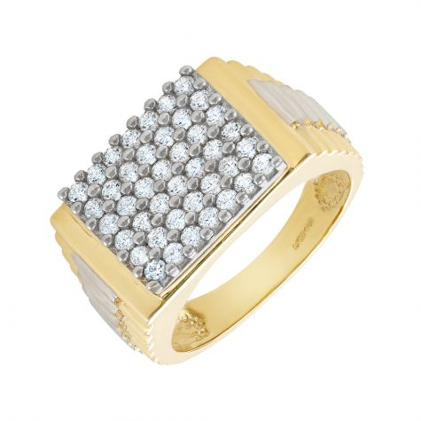 9ct Gold CZ Set Signet Ring with Rolex Sides - Gents