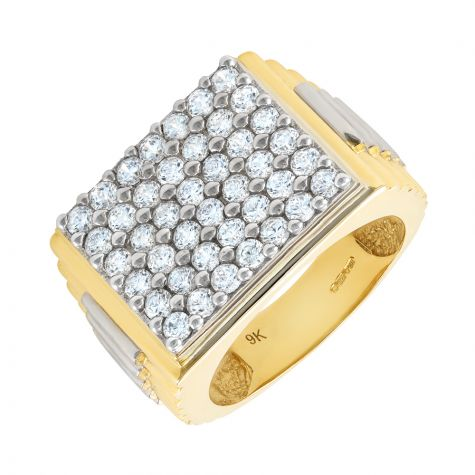 Heavyweight 9ct Gold CZ Set Signet Ring with Rolex Sides - Gents