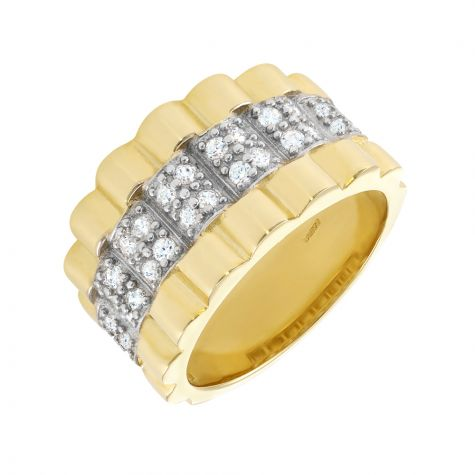 Heavyweight 9ct Gold Rolex Ring with CZ Gemstone Setting - Gents