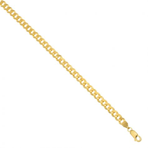 """Solid 9ct Gold Italian Bevelled Edge Curb Chain - 5mm - 20"""" - 24"""""""