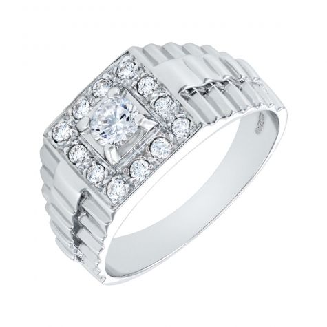 9ct White Gold Square CZ Set Signet Ring with Rolex Sides - Gents