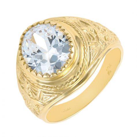 9ct Yellow Gold White Gemstone Graduation / College Ring - Gents