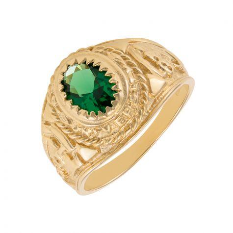 9ct Yellow Gold Green Gemstone Graduation / College Ring - Childs