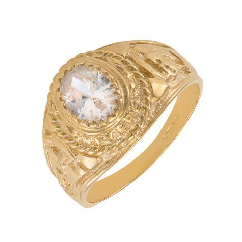 9ct Yellow Gold White Gemstone Graduation / College Ring - Childs