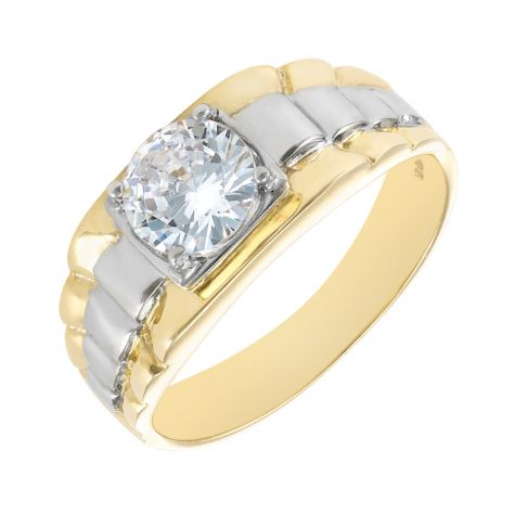 9ct Yellow & White Gold CZ Set Ring with Rolex Sides - Gents
