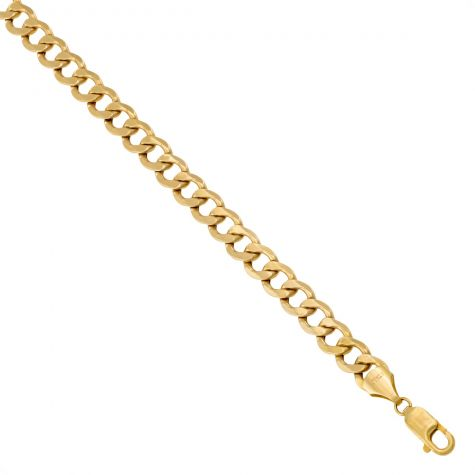"""SEMI SOLID - 9ct Yellow Gold Italian Made Curb Chain - 9 mm - 20"""" - 30"""""""
