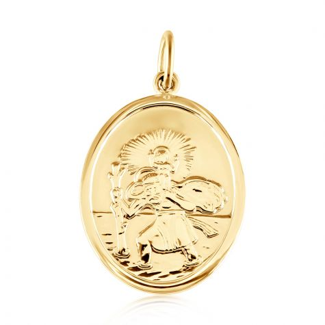 9ct Yellow Gold Double Sided Oval St Christopher Pendant - 20mm