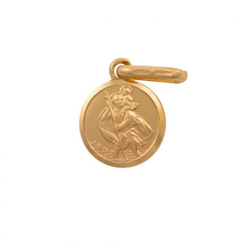 9ct Yellow Gold Single-Sided Round St. Christopher Pendant - 16mm