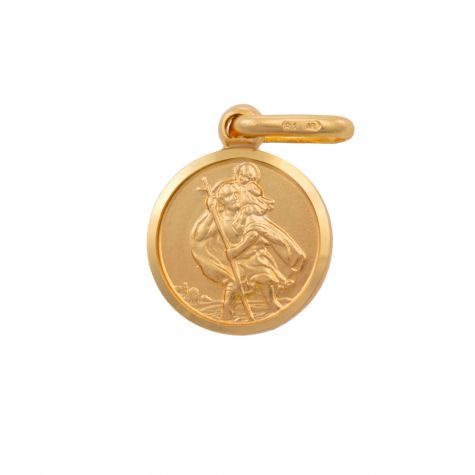 9ct Yellow Gold Single-Sided St. Round Christopher Pendant - 18mm