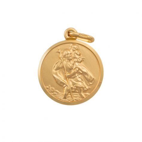 9ct Yellow Gold Single-Sided Round St. Christopher Pendant - 25mm