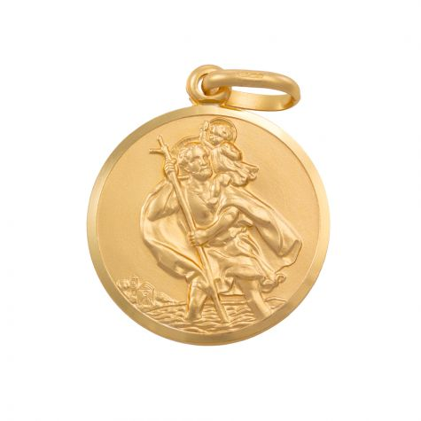 9ct Yellow Gold Single-Sided Round St. Christopher Pendant - 33mm