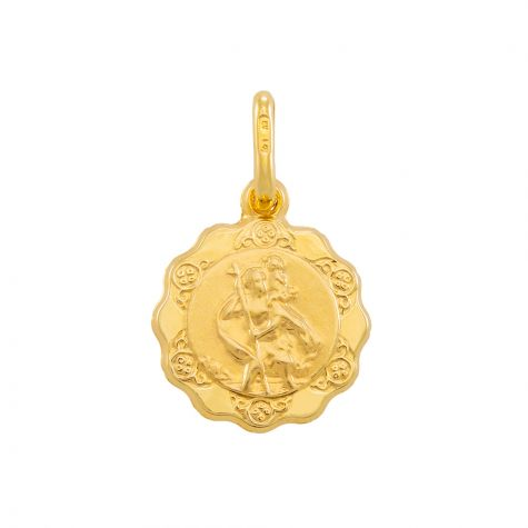 9ct Yellow Gold Single-Sided St. Christopher Pendant - 20mm