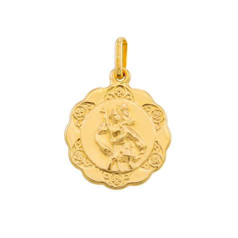 9ct Yellow Gold Single-Sided Round St. Christopher Pendant - 24mm