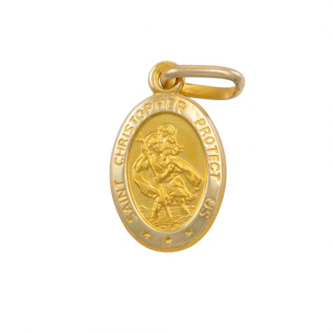 9ct Yellow Gold Oval St. Christopher Protect Us Pendant - 20mm