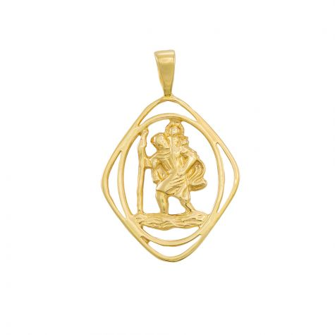 9ct Yellow Gold Cut-Out St. Christopher 3D Pendant - 30mm