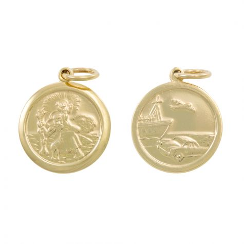 9ct Yellow Gold Double-Sided Round St. Christopher Pendant - 27mm