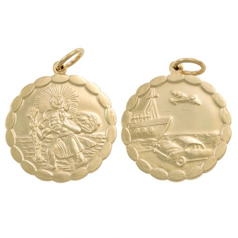 9ct Yellow Gold Double-Sided Round St. Christopher Pendant - 33mm