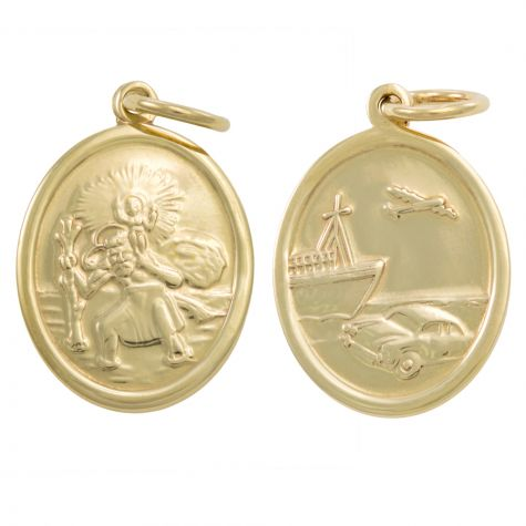 9ct Yellow Gold Double-Sided Oval St. Christopher Pendant - 28mm