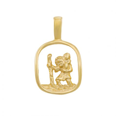 9ct Yellow Gold Cut-out 3D St. Christopher Pendant - 21mm