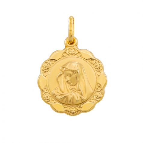 9ct Yellow Gold Round Patterned Madonna Pendant - 25mm