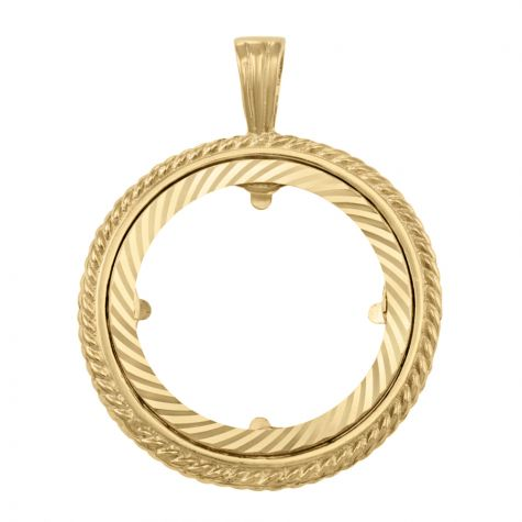 9ct Yellow Gold Full Sovereign Rope Design Coin Mount Pendant