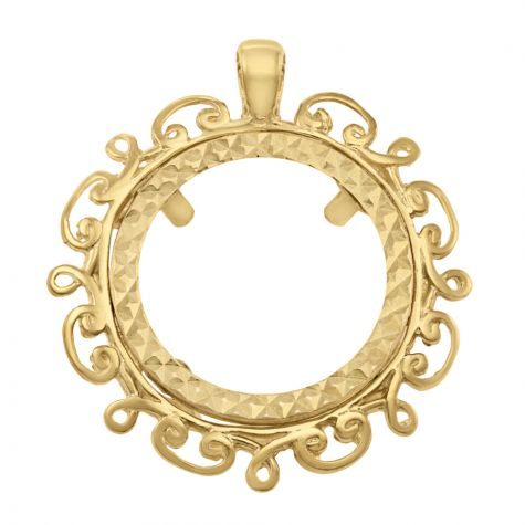 9ct Gold Full Sovereign Wave Design Coin Mount Pendant