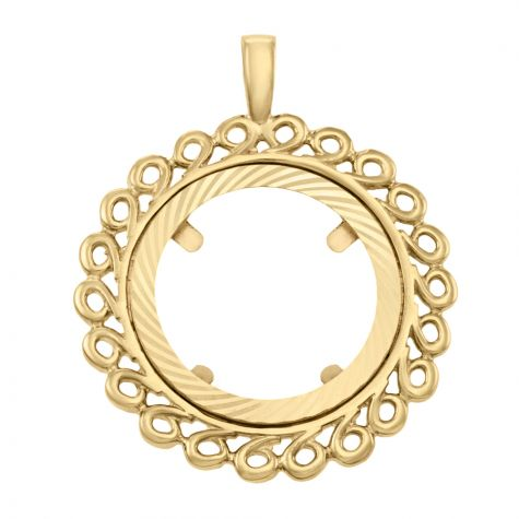 9ct Yellow Gold Full Sovereign Wave Design Coin Mount Pendant
