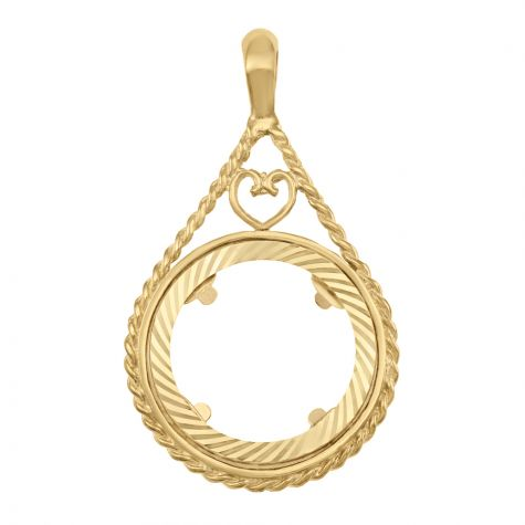 9ct Yellow Gold Full Sovereign Teardrop Shape Coin Mount Pendant
