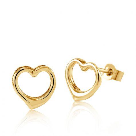 9ct Yellow Gold Open Heart Stud Earrings - 8mm
